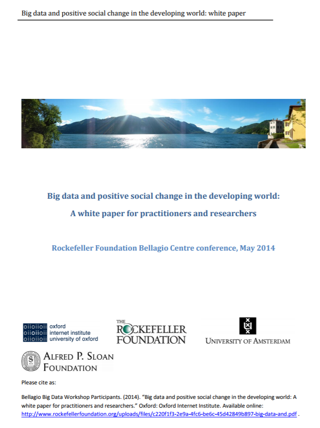 Big Data and Positive Social Change in the Developing World: A White Paper for Practitioners and Researchers